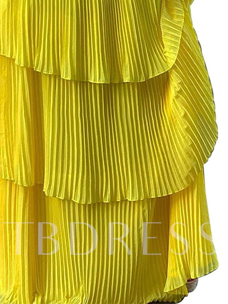 Floor-Length Off Shoulder Pleated Short Sleeve Layered Dress Women's Dress