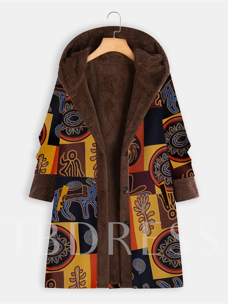 Loose Button Regular Single-Breasted Long Women's Overcoat
