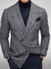 Slim Notched Lapel Double-Breasted OL Men's Leisure Blazers