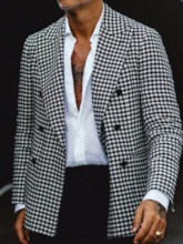 Houndstooth Double-Breasted OL Notched Lapel Men's leisure Suit