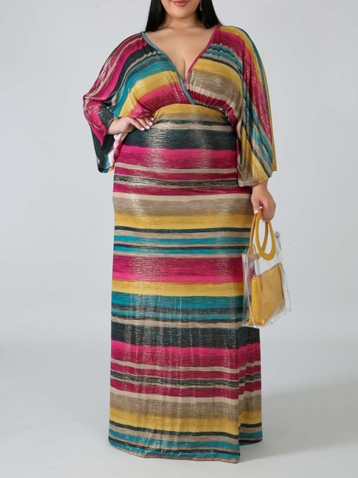 V-Neck Long Sleeve Floor-Length Stripe Women's Dress