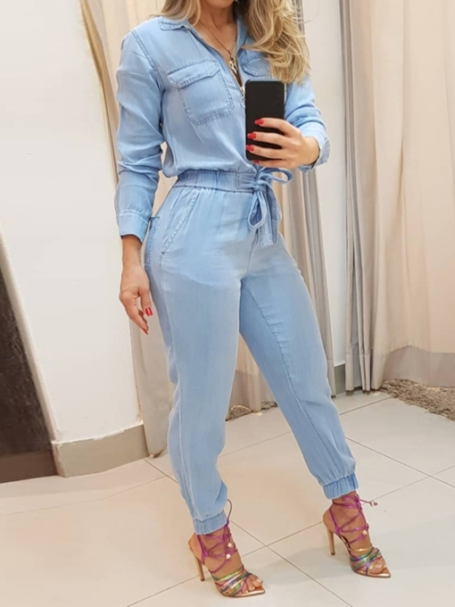 Plain Ankle Length Zipper Fashion Loose Women's Jumpsuit
