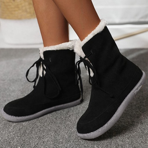 Round Toe Lace-Up Front Plain Flat With Western Boots