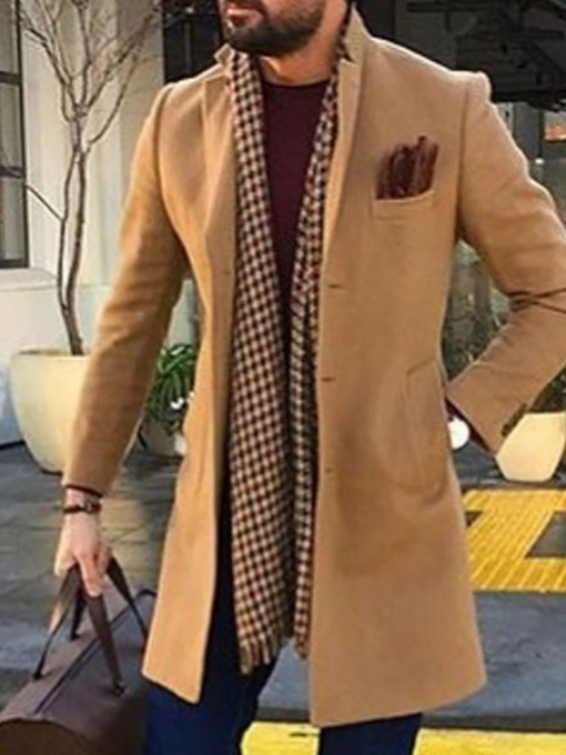 Plain Mid-Length European Men's Coat