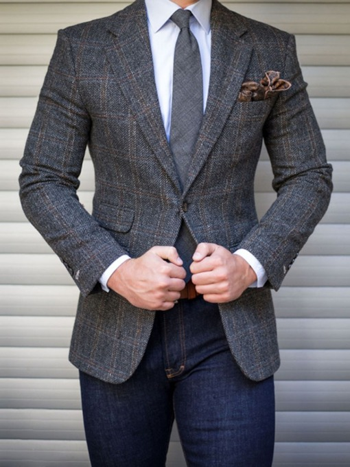 One Button Slim Plaid Formal Men's Blazer