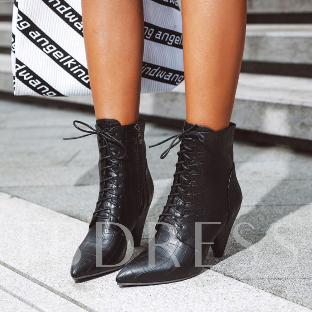 Plain Chunky Heel Pointed Toe Side Zipper Platform Boots