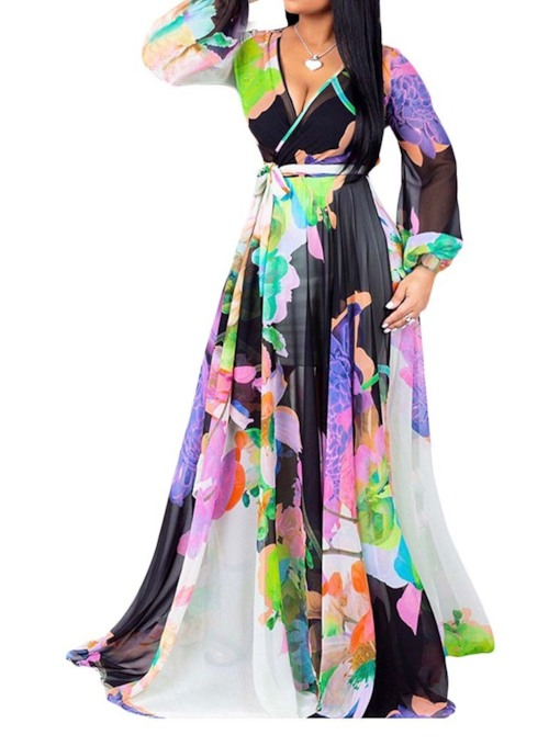Print Long Sleeve V-Neck Floor-Length Lantern Sleeve Women's Dress