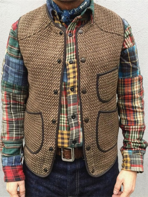 Pocket Round Neck Color Block Single-Breasted Men's Waistcoat