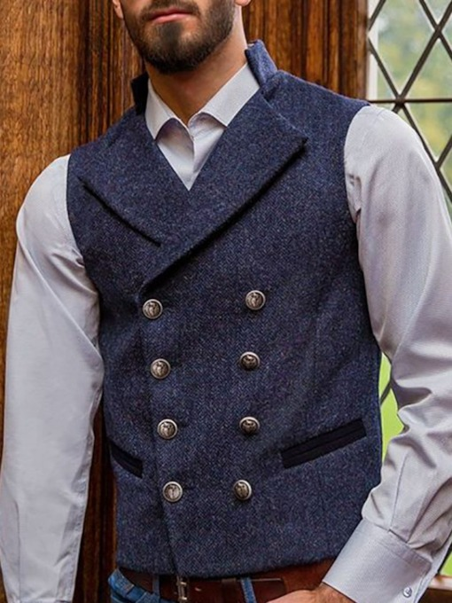 Button Double-Breasted Men's Waistcoat