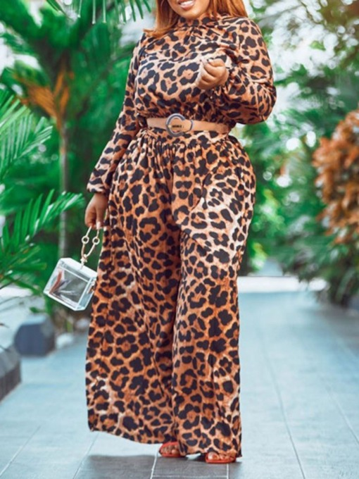 Full Length Fashion Print Leopard Wide Legs Women's Jumpsuit