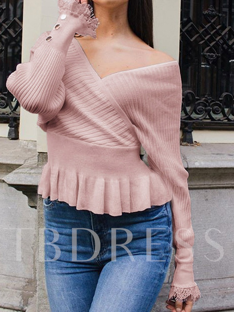 Lace Thin V-Neck Women's Sweater
