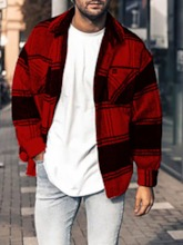 Plaid Lapel Loose Single-Breasted Men's Jacket