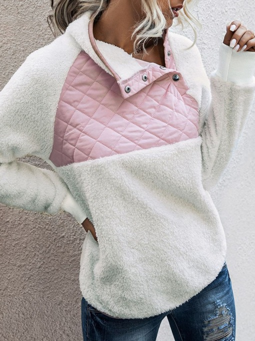 Patchwork Regular Color Block Mid-Length Women's Hoodie