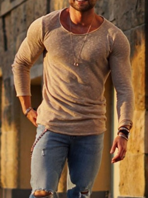 Round Neck Casual Slim-Fit Men's T-shirt