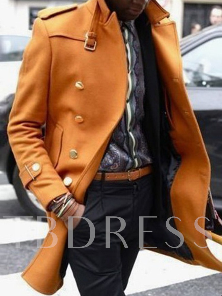 Mid-Length Lapel Plain Winter Men's Coat