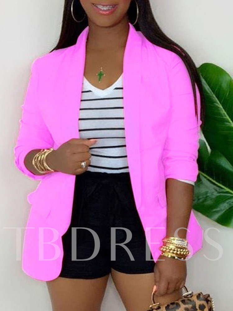 Wrapped Long Sleeve Notched Lapel Plain Mid-Length Women's Casual Blazer