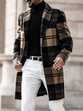 Mid-Length Notched Lapel Plaid Single-Breasted Men's Coat