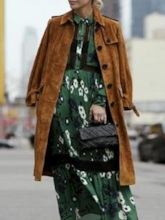 Patchwork Long Lapel Single-Breasted Winter Women's Trench Coat
