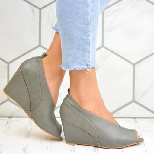 Hollow Slip-On Peep Toe Wedge Heel Plain Thin Shoes