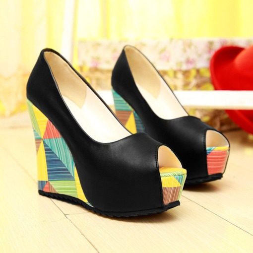 Peep Toe Platform Slip-On Wedge Heel Sweet Thin Shoes