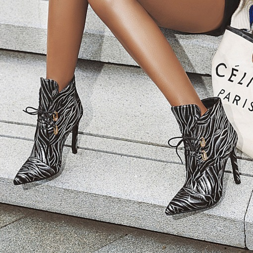Lace-Up Front Stiletto Heel Pointed Toe Lace-Up Boots