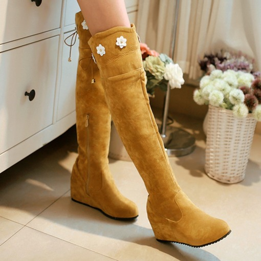 Side Zipper Round Toe Thread Boots