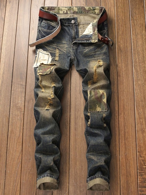 Patchwork Straight Camouflage Zipper Men's Jeans