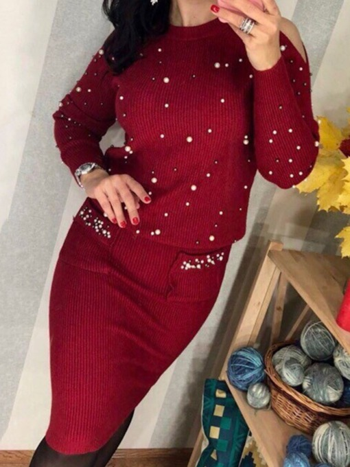 Simple Bead Sweater Plain Pullover Women's Two Piece Sets