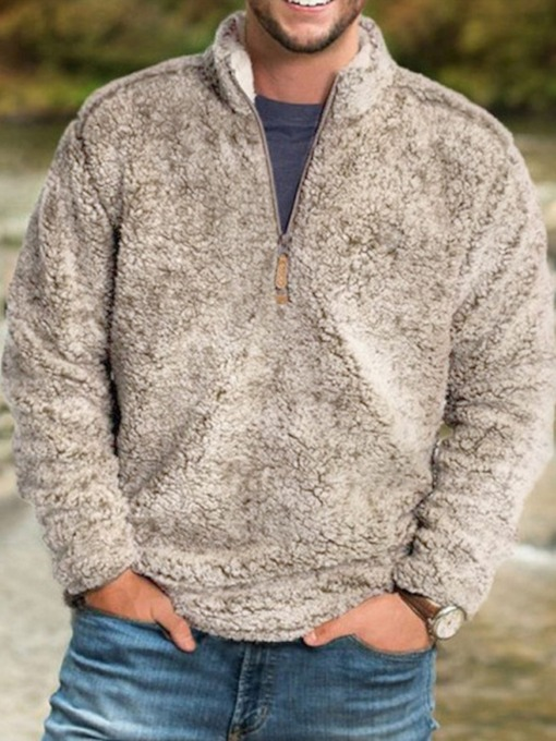 Plain Thick V-Neck Fall Men's Jacket