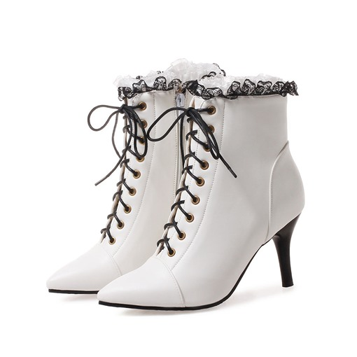 Plain Stiletto Heel Lace-Up Front Pointed Toe Western Boots