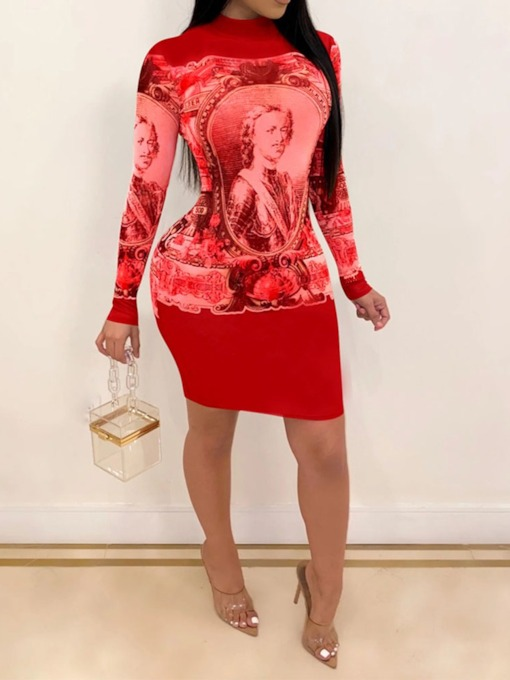 Above Knee Print Long Sleeve Stand Collar Pullover Women's Dress