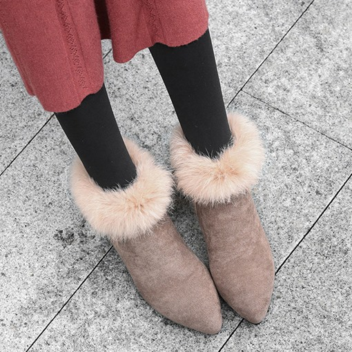 Side Zipper Pointed Toe Thread Boots