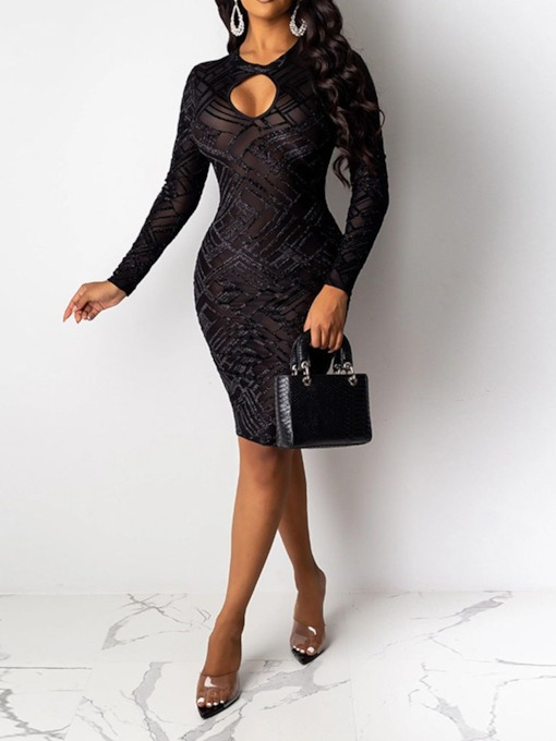 Round Neck See-Through Above Knee Long Sleeve Bodycon Women's Dress