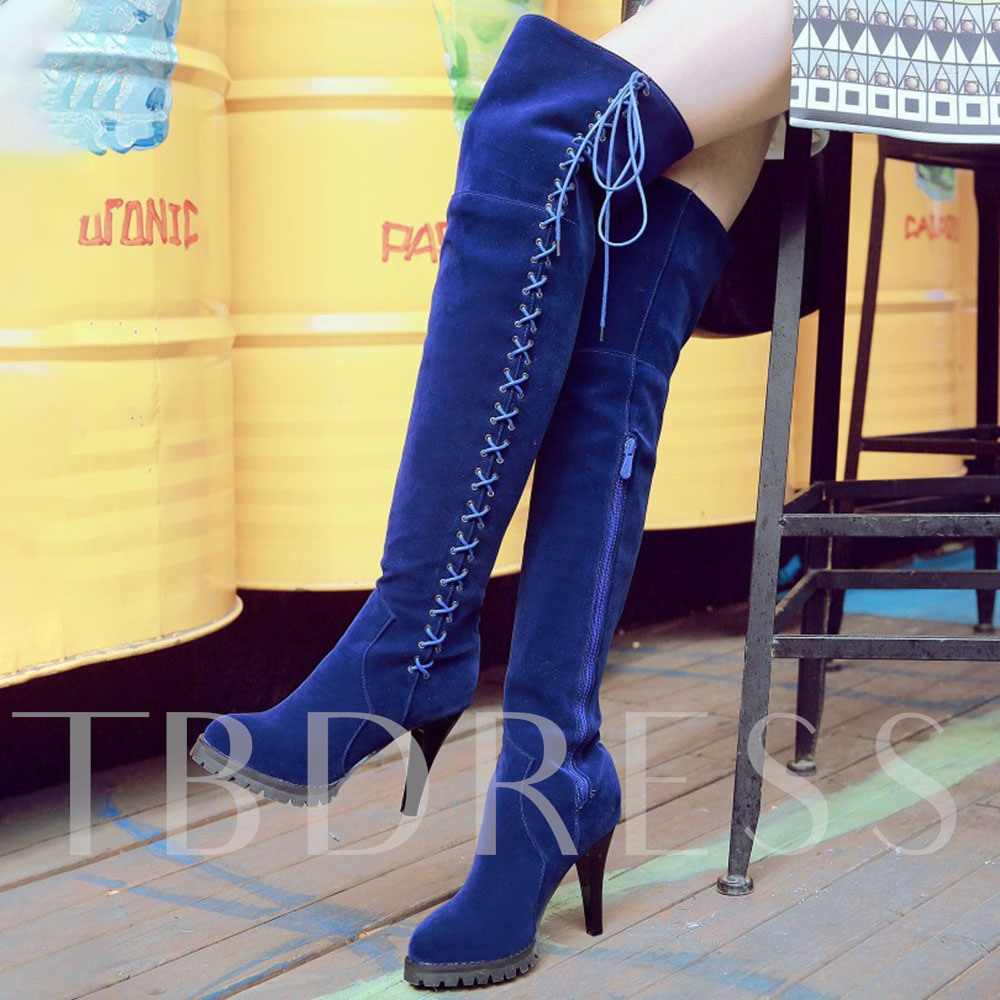Side Zipper Plain Round Toe Zipper Boots