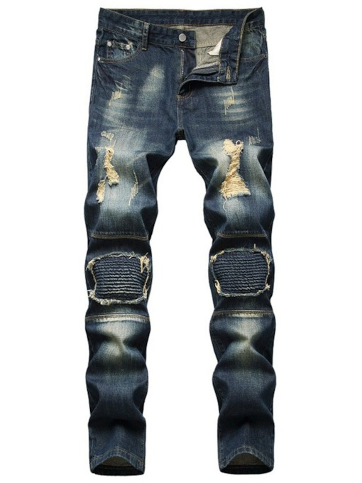Straight Hole Slim Mid Waist Men's Jeans