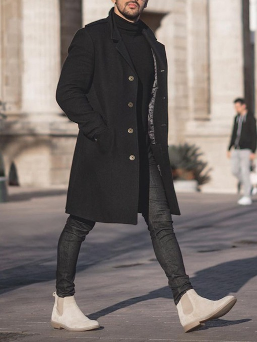 Plain Mid-Length Pocket Winter Men's Coat