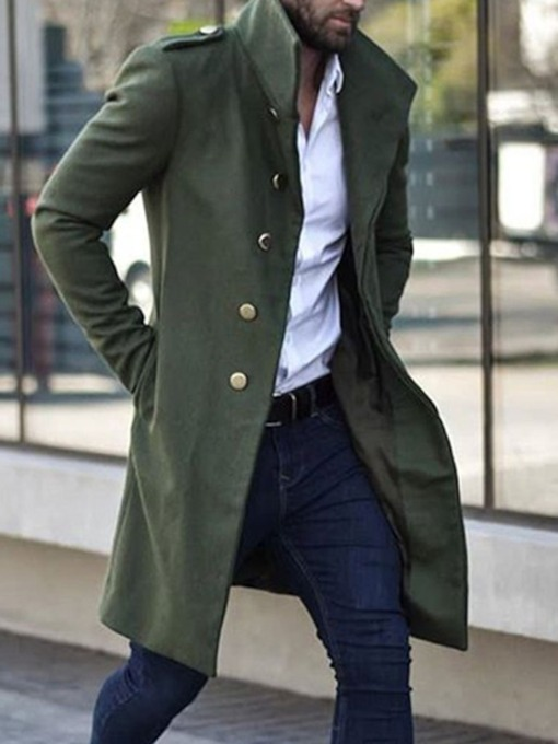 Mid-Length Stand Collar Plain Slim Men's Coat