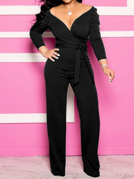 Full Length Sexy Plain Lace-Up Straight Women's Jumpsuit