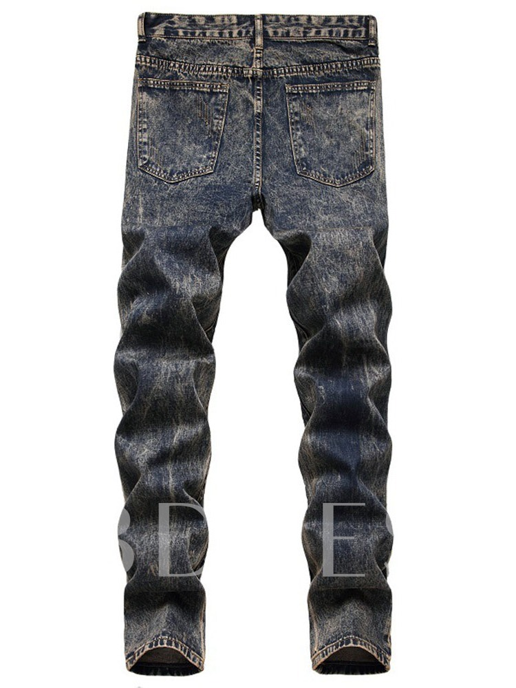 Straight Hole European Men's Jeans
