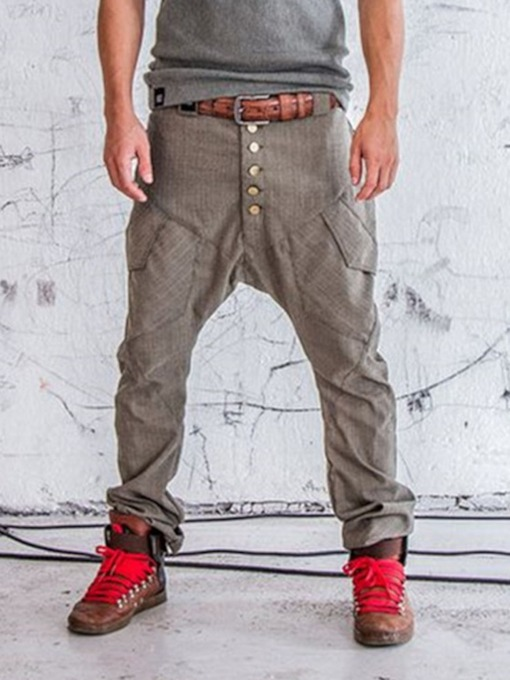 Plain Baggy Pants European Men's Casual Pants
