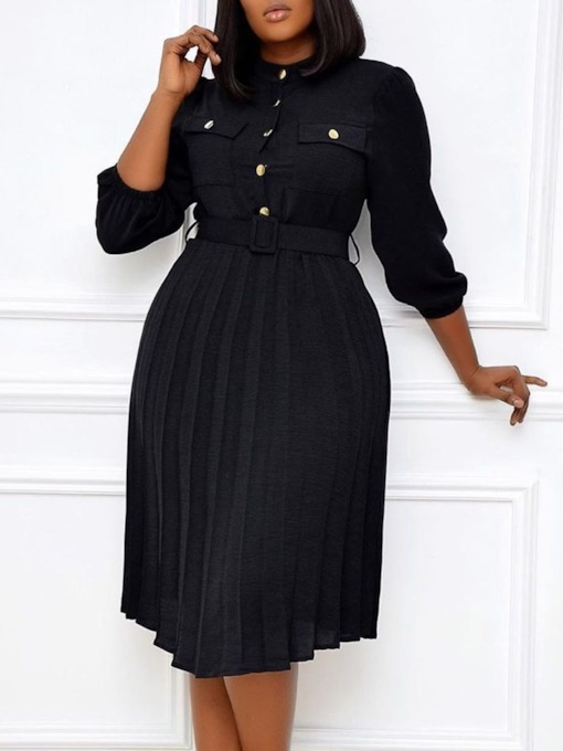 Pleated Mid-Calf Stand Collar Three-Quarter Sleeve Pullover Women's Dress