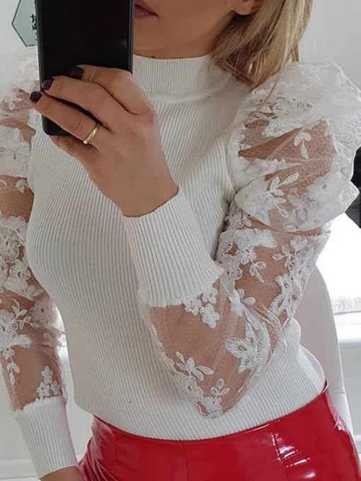 Patchwork Puff Sleeve Long Sleeve Women's Sweater