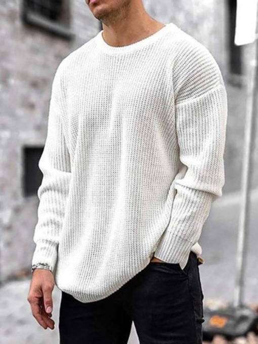 Round Neck Standard Plain Winter Loose Men's Sweater