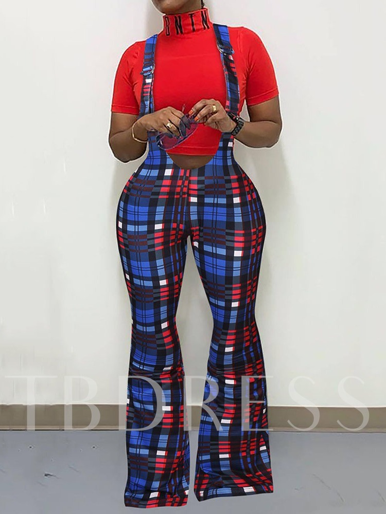 Suspenders Casual Plaid Full Length Slim Women's Overalls