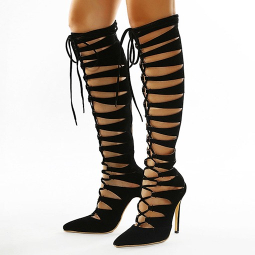 Stiletto Heel Pointed Toe Plain Lace-Up Front Lace-Up Boots