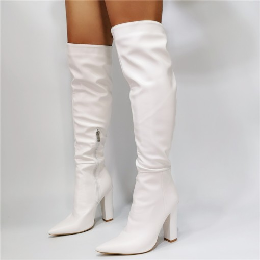Side Zipper Plain Chunky Heel Pointed Toe Short Floss Boots