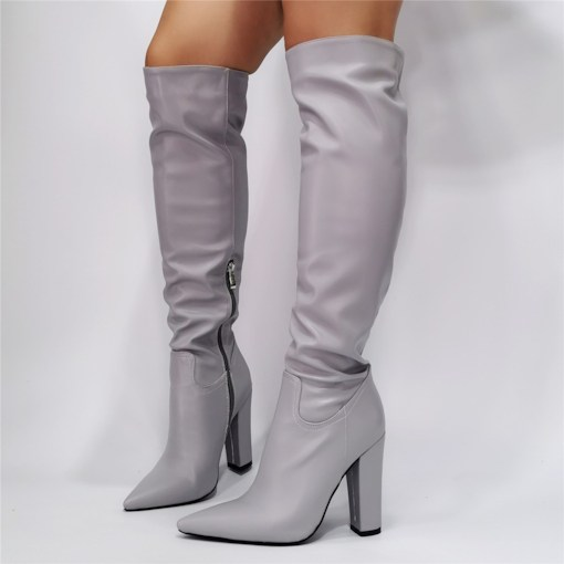 Side Zipper Chunky Heel Pointed Toe Plain Casual Boots