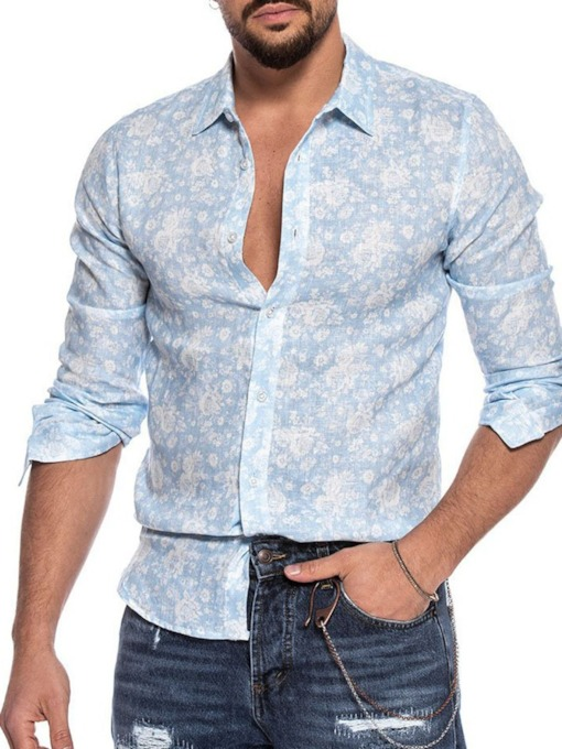 Floral Lapel OL Print Single-Breasted Men's Shirt