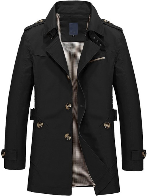 Plain Lapel Button Mid-Length Spring Men's Trench Coat