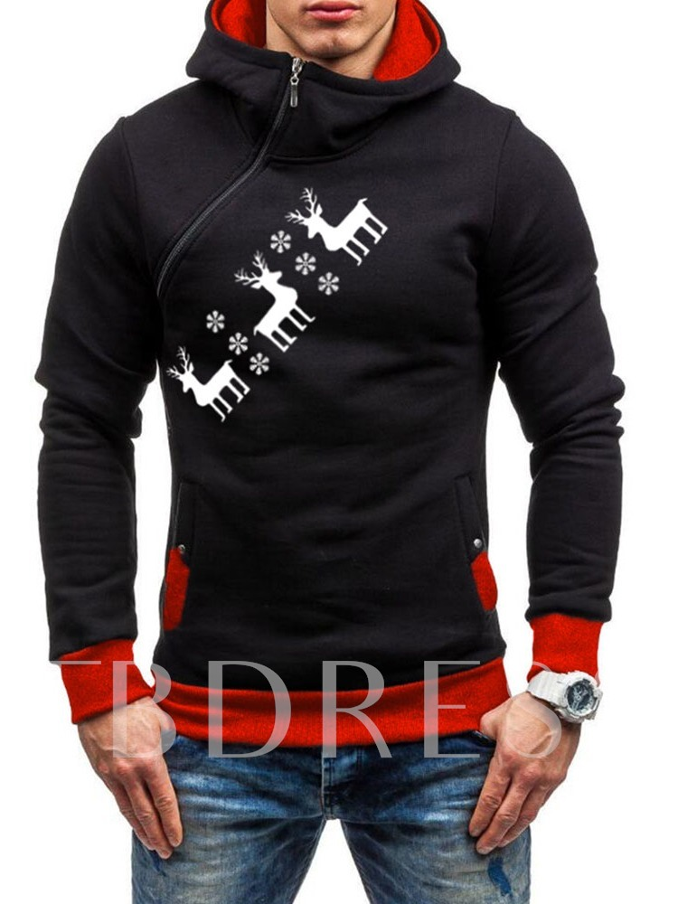 Pullover Animal Asymmetric Loose Men's Hoodies